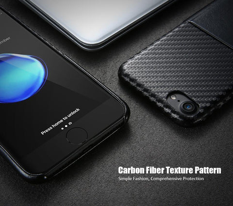 Real Carbon Fiber & Leather Phone Case For IPhone