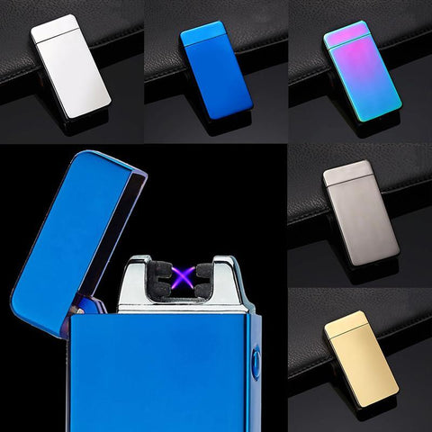 USB Electric Dual Arc Metal Flameless Torch Rechargeable Windproof Lighter