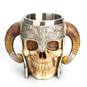 3D Skull Horn Knight Cool Stainless Steel Cup Coffee Cups and Mugs Coffee Mugs Halloween Gifts Bar Cup Drinking Tumbler