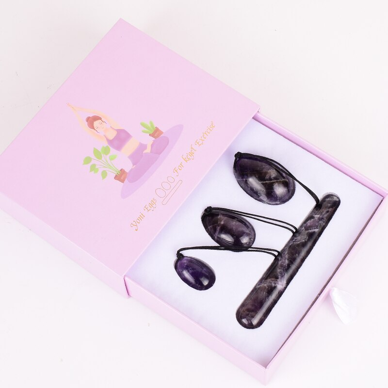 Natural Amethyst Yoni Eggs Massage Wand Tool Gift Box Set Kegel Exercise Vaginal Muscle Training Massager Original Stone Crystal