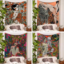 Psychedelic Scene Woman Tapestry Secret Jungle Yoga Mat Rug Home Decor Corridor Bedroom Living Room Wall Hanging Tapestries