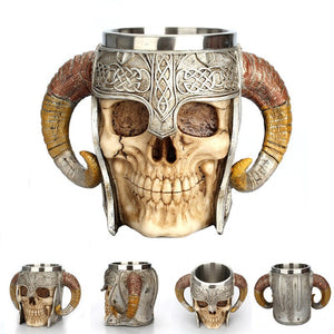 Retro Horn Skull Resin Beer Mug  Stainless Steel Skull Knight Tankard Halloween Coffee Cup Viking Tea Mug Pub Bar Decoration