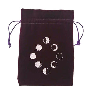 Velvet Tarot Storage Bag Moon Phase Oracle Card Divination Bag Board Game Toy Jewelry Home Mini Drawstring Package