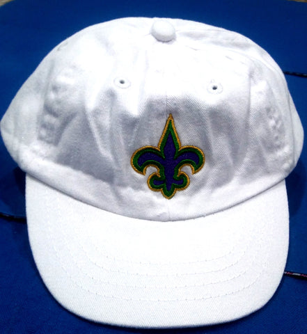 INFANT WHITE CAP WITH MARDI GRAS COLOR FLEUR DE LIS