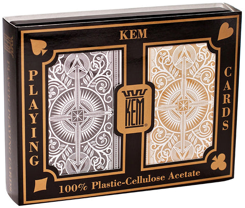 KEM ARROW BLACK/GOLD JUMBO INDEX BRIDGE CARDS