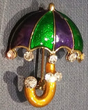 MARDI GRAS UMBRELLA BROOCH/PIN