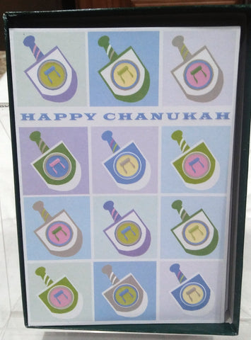 12 DREIDELS CHANUKAH BOXED GREETING CARDS