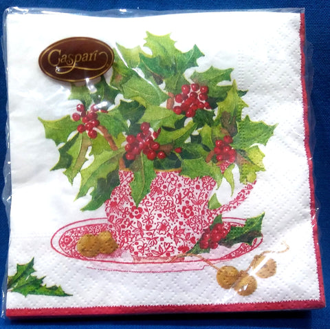 CHRISTMAS TEA CASPARI PAPER BEVERAGE NAPKINS