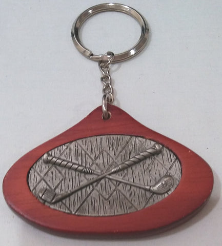PEWTER WOOD GOLF KEYCHAIN