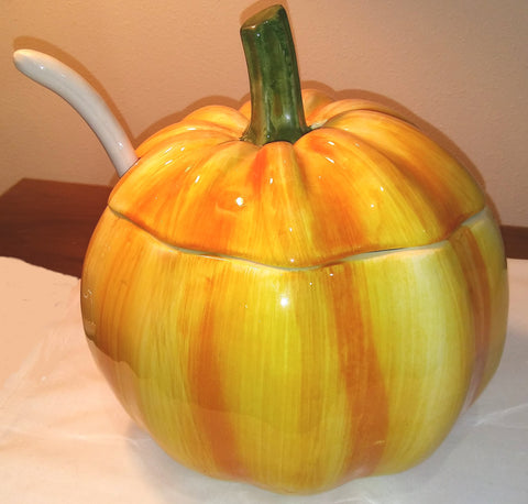 LARGE PUMPKIN TUREEN AND LADLE