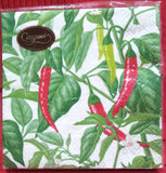 CASPARI CHILI PEPPER - IVORY PAPER LUNCHEON NAPKINS