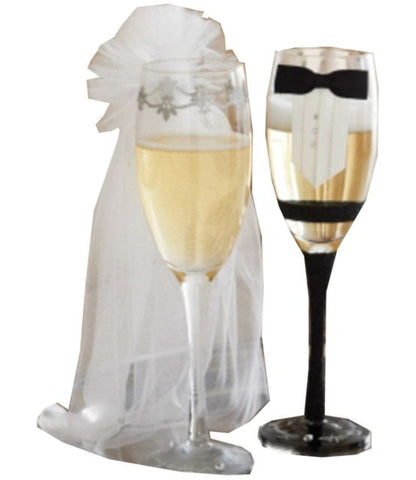 CHAMPAGNE GLASSES WITH ADORNMENTS