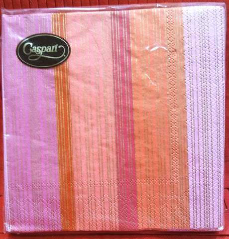 CASPARI STRIPED SILK FUCHSIA PAPER LUNCHEON NAPKINS