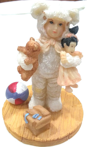 BUNNY SUIT FIGURINE - BABY WITH TOYS