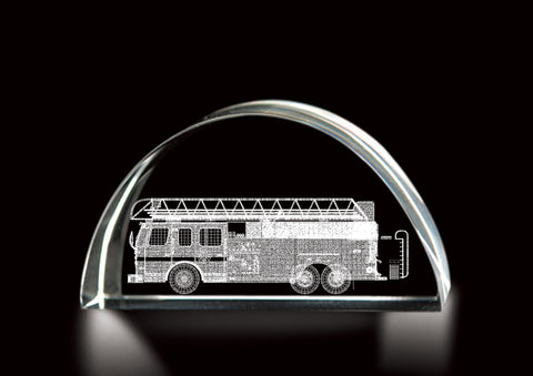 LASER ETCHED CRYSTAL FIRE TRUCK KEEPSAKE