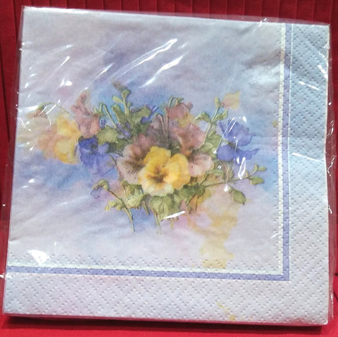 PAINT BOX PANSIES BEVERAGE NAPKINS