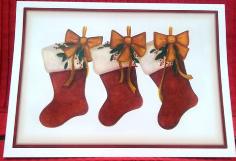 3 STOCKINGS BOXED GREETING CARDS
