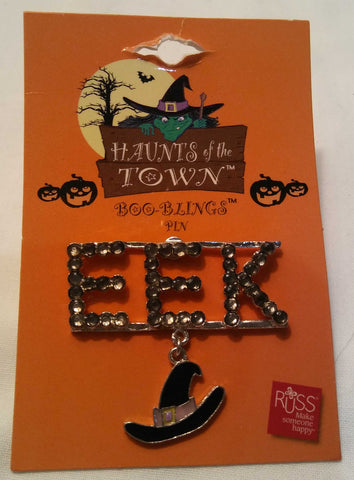 EEK HALLOWEEN PIN/BROOCH WITH WITCH HAT