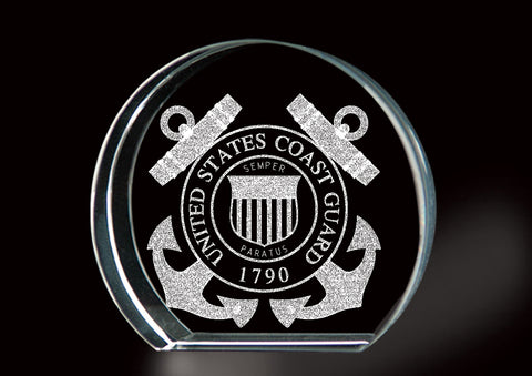 LASER ETCHED COAST GUARD CRYSTAL KEEPSAKE
