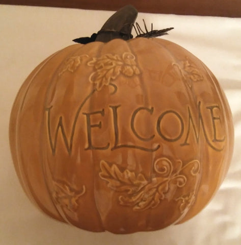 WELCOME CERAMIC PUMPKIN