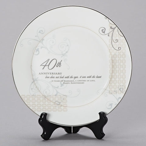 40TH ANNIVERSARY PLATE AND STAND