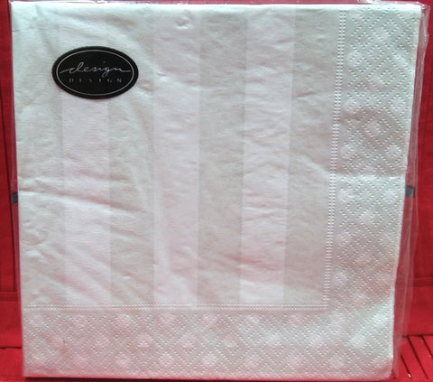 PEARLS & STRIPES CREAM PAPER LUNCHEON NAPKINS