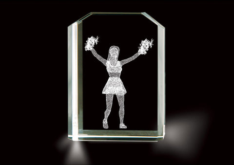 LASER ETCHED CRYSTAL CHEERLEADER KEEPSAKE