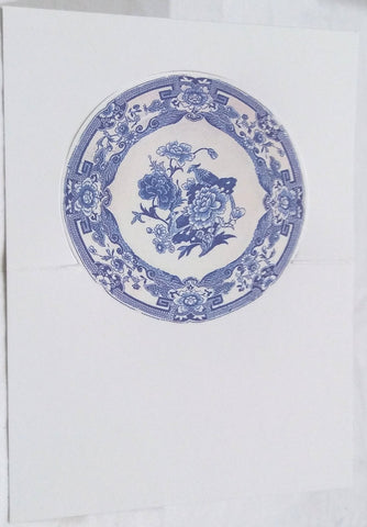CASPARI BLUE AND WHITE PLATE PLACE CARDS