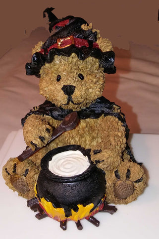 RESIN TEDDY BEAR IN WITCH COSTUME WITH CAULDRON