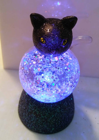 MINI LIGHT UP CAT WATER GLOBE