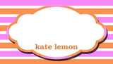 STRIPES AND OVAL FRAME PERSONALIZED GIFT OR CALLING CARDS