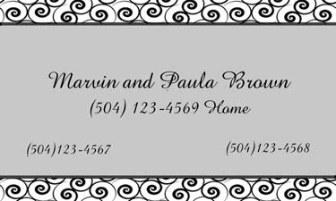 BLACK AND GREY SWIRLS PERSONALIZED GIFT OR CALLING CARDS