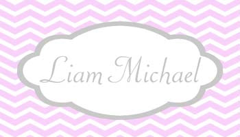 SCALLOP FRAME AND CHEVRON PATTERN PERSONALIZED GIFT OR CALLING CARDS