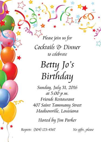 BALLOONS AND CONFETTI BIRTHDAY CUSTOM INVITATION