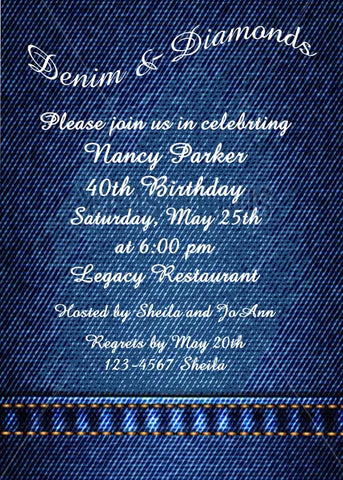 DENIM SOLID CUSTOM INVITATION
