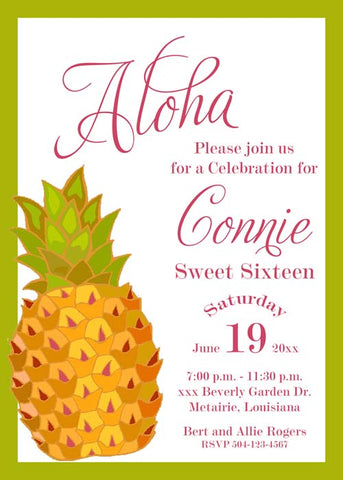 GOLD PINEAPPLE - LUAU CUSTOM INVITATION