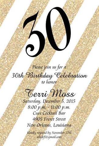 DIAGONAL GLITTER CUSTOM INVITATION