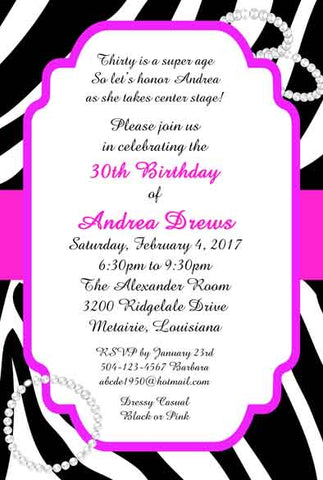 ZEBRA AND PEARLS CUSTOM INVITATION