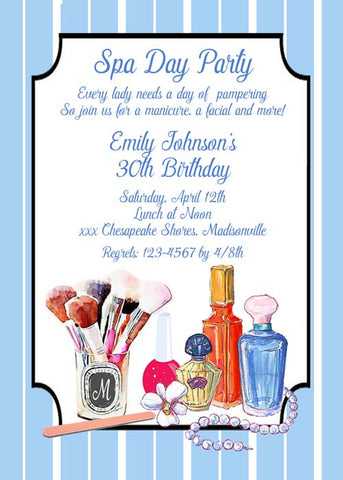 SPA DAY - VANITY CUSTOM INVITATION