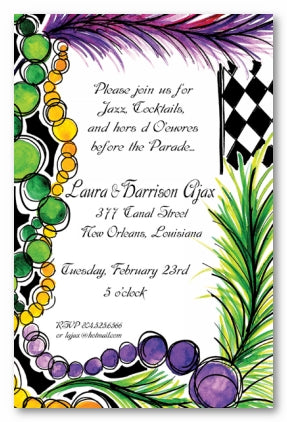 MARDI GRAS BEADS & FEATHERS - BLANK STOCK INVITATION