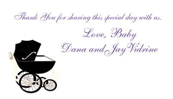 BLACK BABY BUGGY OR PRAM PERSONALIZED GIFT OR CALLING CARDS