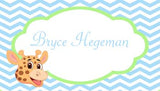 GIRAFFE HEAD CHEVRON BACKGROUND PERSONALIZED GIFT OR CALLING CARDS