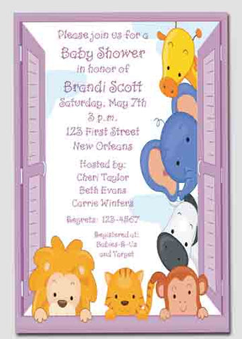 ZOO ANIMALS IN WINDOW CUSTOM INVITATION