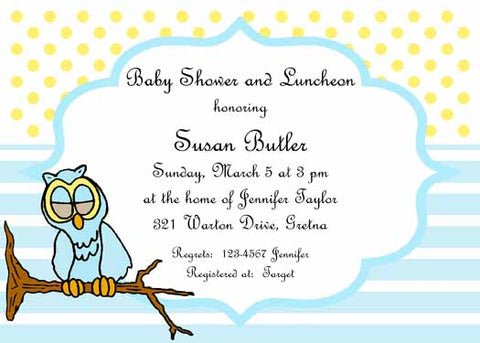 BOY OR GIRL OWL CUSTOM INVITATION