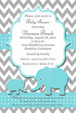 MOTHER AND BABY ELEPHANT CUSTOM INVITATION