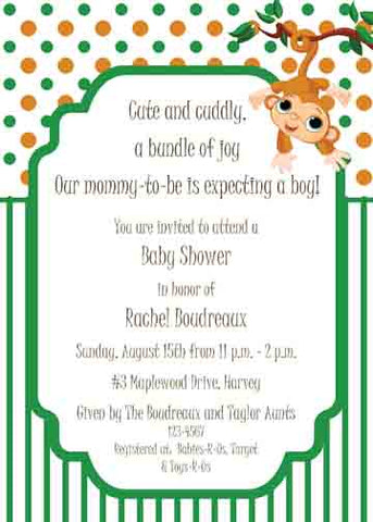HANGING MONKEY CUSTOM INVITATION