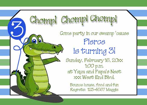 CHOP CHOP ALLIGATOR CUSTOM INVITATION