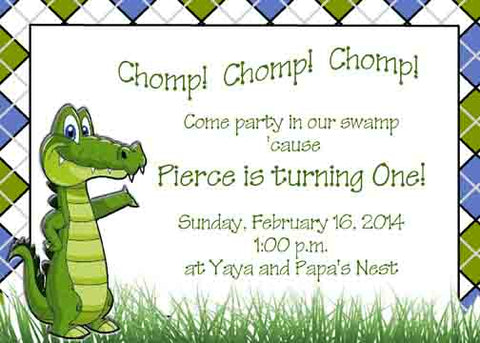 ARGYLE ALLIGATOR CUSTOM INVITATION