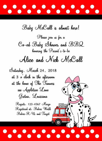 BABY GIRL DALMATION CUSTOM INVITATION