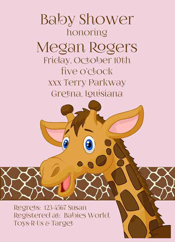 GIRL OR BOY GIRAFFE CUSTOM INVITATION